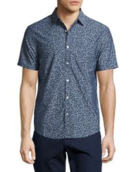 Original Penguin Ivy Leaf Print Chambray Shirt Dark Blue