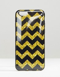 Signature Iphone 6 Case In Glitter Chevron Print Black Gold