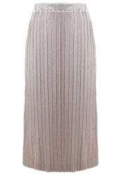 Selected Femme Sfnune Pleated Skirt Shadow Gray Light Brown