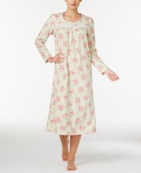 Charter Club Fleece Lace Trimmed Printed Long Nightgown Only At Macy's Mint Roses