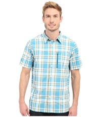 Columbia Silver Ridge Plaid S S Shirt Dark Turquoise Plaid Men's Short Sleeve Button Up Blue