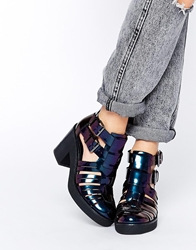 Asos Extra Time Gladiator Crepe Mix Ankle Boot Petrol