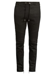 Balmain Biker Slim Leg Wax Effect Cotton Blend Track Pants Black