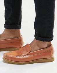 Walk London Henley Crepe Sole Penny Loafer Tan
