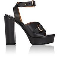 Chloe Women's O Ring Strap Leather Platform Sandals Black