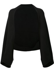 Sally Lapointe V Neck Bell Sleeves Blouse Black