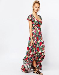 Wildfox Couture Wildfox Flower Shipping Wrap Maxi Tea Dress With Ruffle Detail Multi