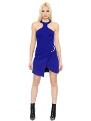 David Koma Metal Curves Wool Crepe Dress