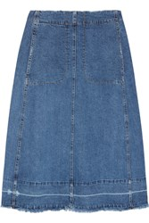 Sea Denim Midi Skirt Blue