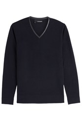 The Kooples Merino Wool Pullover With Leather Blue