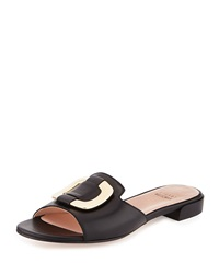Stuart Weitzman Odeon Leather Buckle Slide Black