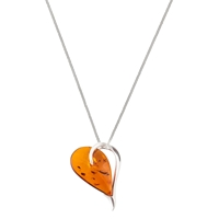 Be Jewelled Sterling Silver Cognac Amber Heart Pendant Necklace Orange