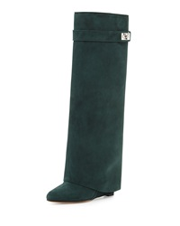 Suede Shark Lock Fold Over Boot Forest Green Givenchy