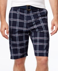 American Rag Men's Southwest Classic Fit Plaid Cargo Shorts Only At Macy's Basic Navy