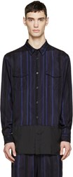 3.1 Phillip Lim Black And Blue Striped Combo Shirt