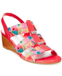 Karen Scott Johane Stretch Wedge Sandals Only At Macy's Women's Shoes Coral Multi