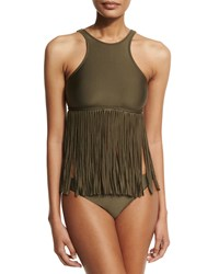 Luxe By Lisa Vogel Fringe Benefits High Neck Tankini Swim Top Olive