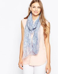 French Connection Printed Lightweight Scarf Blue