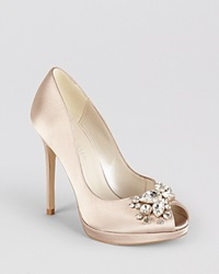 Karen Millen Peep Toe Pumps Jewel Champagne