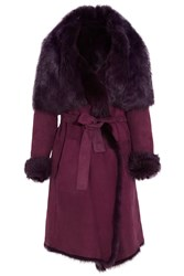 Donna Karan Shearling Coat Purple