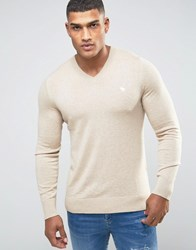 Abercrombie And Fitch V Neck Jumper Icon Logo Fine Knit In Beige Oatmeal