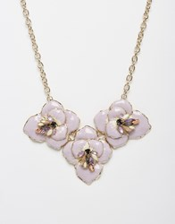 Oasis Ombre Shimmer Flower Collar Necklace Purple