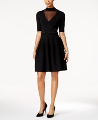 Rachel Roy Illusion Panel Fit And Flare Dress Black