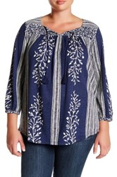 Lucky Brand Mixed Print Linen Blend Top Plus Size Blue