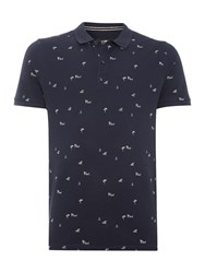 Only And Sons All Over Tropical Ditsy Print Short Sleeve Polo Navy