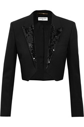 Saint Laurent Cropped Sequin Embellished Wool Crepe Blazer