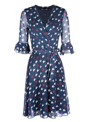 Zibi London Dog Tooth Print 3 4 Sleeve Wrap Dress Blue