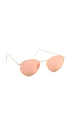 Ray Ban Icons Mirrored Sunglasses Matte Gold Brown Mirror Pink