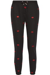 Zoe Karssen Lips All Over Embroidered Cotton Blend Tapered Pants Jersey Black