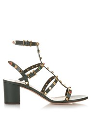Valentino Rockstud Rolling Leather Sandals Dark Green