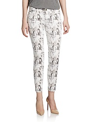Rachel Roy Nature Print Skinny Pants White Multi