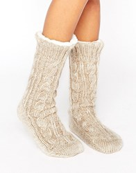 Asos Cable Faux Fur Lined Slipper Sock Oatmeal Brown