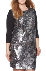 Plus Size Women's Eloquii Sequin Front Sheath Dress Grey Slate