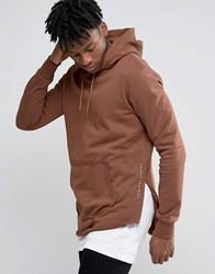 Criminal Damage Hoodie With Raw Hem Orange