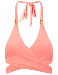 Lilliput And Felix Coral Paeonia Wrap Around Bikini Top Pink