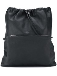 Maison Martin Margiela Mm6 Front Pocket Drawstring Backpack Black