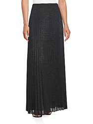 Kay Unger Sheer Pleated Maxi Skirt Black