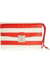 Marc Jacobs Isobel Striped Leather Clutch Coral