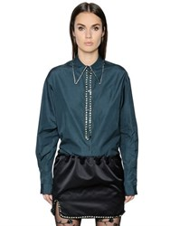 N 21 Cotton Poplin Shirt With Crystals