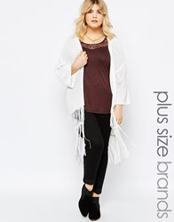 Brave Soul Plus 3 4 Sleeve Cardigan With Tassel Detail White