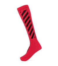 Off White Cotton Blend Socks Red