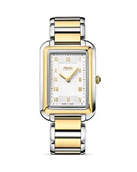 Fendi Large Two Tone Classico Watch 38Mm White