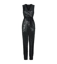 Diane Von Furstenberg Orianna Sequin Wrap Jumpsuit Female Black