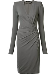 Alexandre Vauthier Wrap Effect Dress Grey