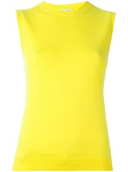 Oscar De La Renta Knitted Tank Top Yellow And Orange