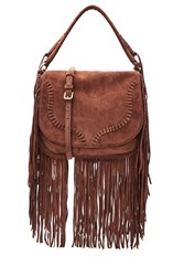 Polo Ralph Lauren Suede Shoulder Bag With Fringe Brown